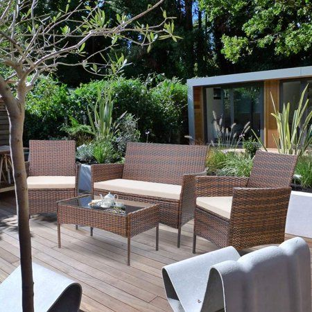 Patio Garden With Images Balcony Furniture Set Wicker Table