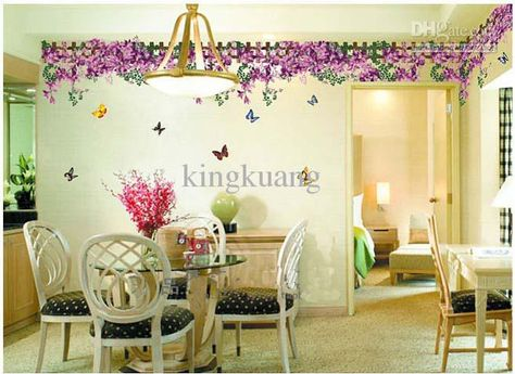 Purple Butterfly Fences Wall Art Stickers Removable Stickerliving Room Dining Home Decal