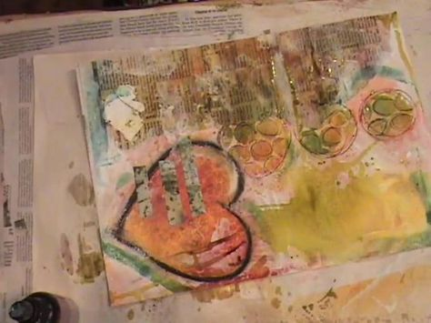Different sprays within circles. Watch the process of Roben-Marie creating an art journal page.
