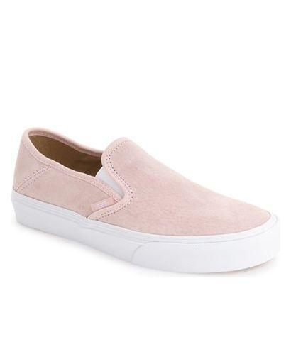 blush pink suede vans slip-ons. These