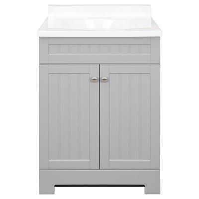 Style Selections Ellenbee 24 In Gray Single Sink Bathroom Vanity With White Cultured Marble Top Lowes Com Bathroom Vanity Bathroom Sink Vanity Single Sink Bathroom Vanity