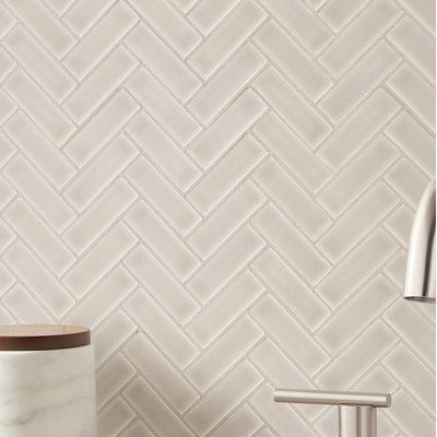 Msi Portico Herringbone 1 X 3 Ceramic Mosaic Tile In Pearl Beige Wayfair Ceramic Mosaic Tile Herringbone Backsplash Kitchen Beige Backsplash