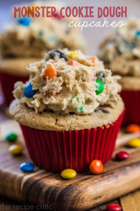 Monster Cookie Dough Cupcakes | The Recipe Critic