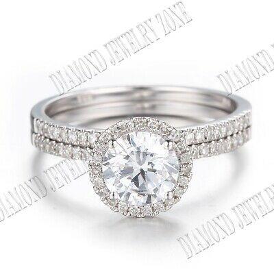 Ebay Ad 10k White Gold Sets 6 5mm Round Cubic Zirconia Engagement Halo Engagement Wedding Ring Sets Moissanite Wedding Bands Moissanite Engagement Ring Halo