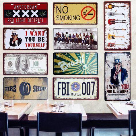 15x30cm Shabby Chic Metal Sign Tin Poster Pub Bar Wall Decor AMSTERDAM