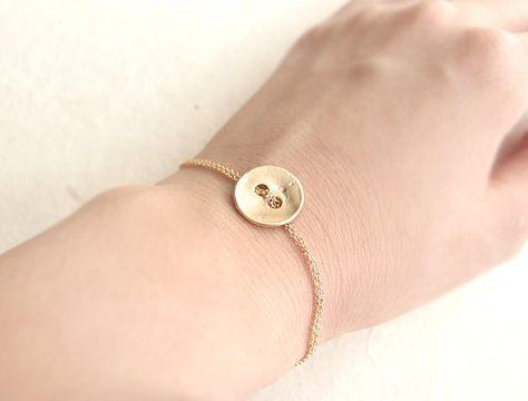 Button Bracelet - gold bracelet, friendship bracelet, button, birthday gift