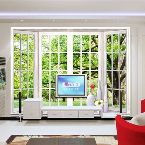 Gunstige Kostenloser Versand 3d Green Baum Wand Wohnzimmer Esszimmer Schlafzimmer Hintergrund Falsche Fenster Falsche Fenster Wandbild Wand Tapeten Wandbilder