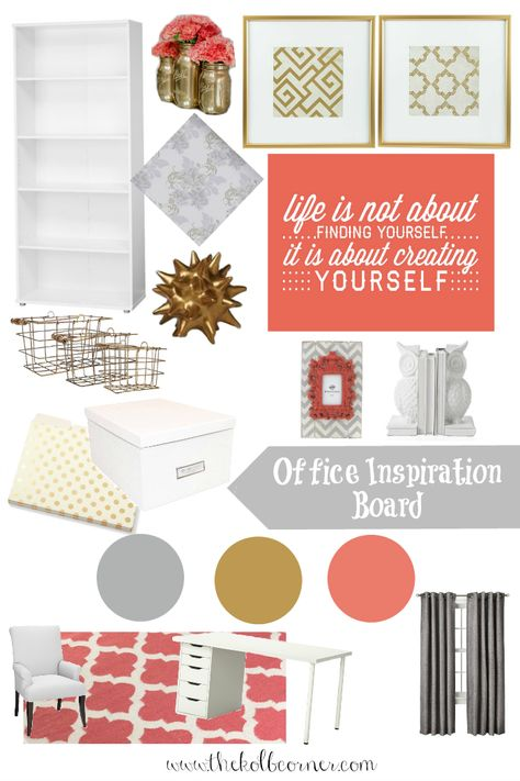 Grey gold and coral office makeover inspiration board.