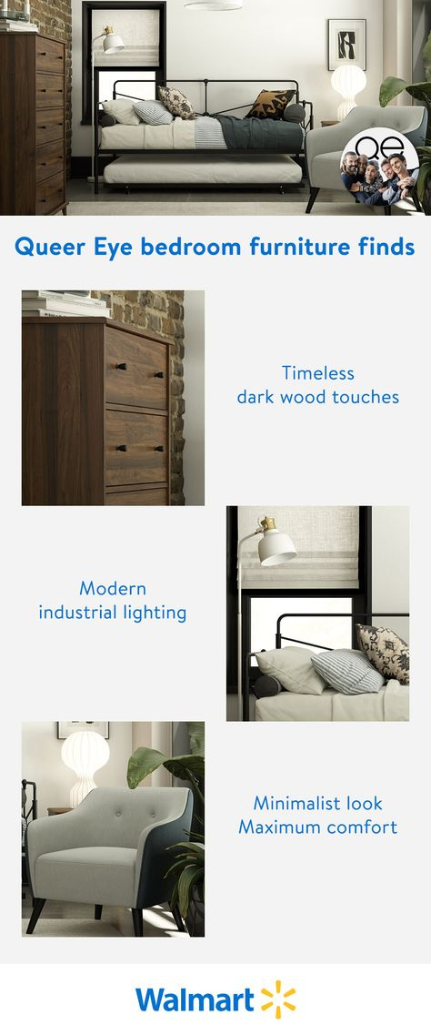 Wake up on the right side of the bed every morning with modern industrial bedroom decor from the new Queer Eye furniture collection, only at Walmart.