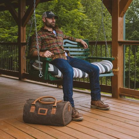 Leather Travel Duffle Bag for Men - Sienna Brown Canvas Duffle Bag, Duffle Bag Travel, Duffle Bags, Canvas Bags, Messenger Bags, Rugged Men, Rugged Style, Mens Outdoor Fashion, Rustic Mens Fashion