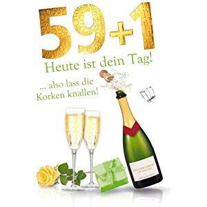 Gluckwunschkarte Mit Umschlag Zum 59 1 Geburtstag Gluckwunsche