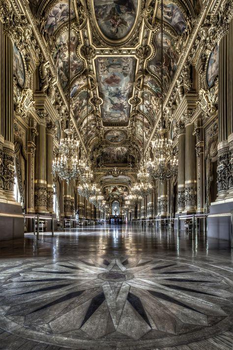 Le Palais Garnier (Paris opera house) - Grand Foyer/ one of my favorite places in paris Architecture Antique, Beautiful Architecture, Beautiful Buildings, Art And Architecture, Beautiful Places, Classical Architecture, Paris Opera House, Opera Garnier Paris, Grand Foyer