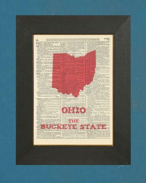 "Ohio The Buckeye State - Dictionary State Art Print 8"" X 11"". $7.00, via Etsy."