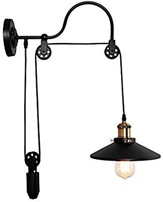 Oyipro Industrial Wall Sconces 1 Light Gooseneck Wall Light Fixture Adjustable Pulley Wheel Wal Wall Mounted Lamps Industrial Wall Sconce Swing Arm Wall Lamps