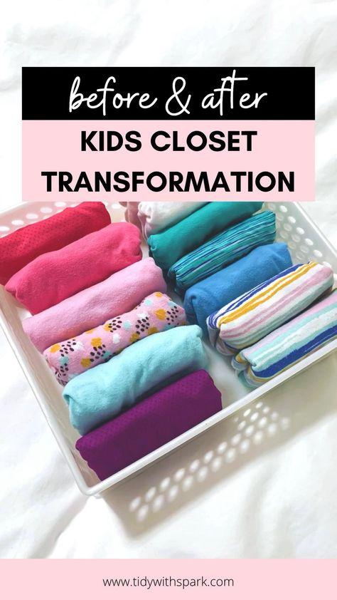 Kids Closet organization ideas - pocket fold - save space - kids closet storage