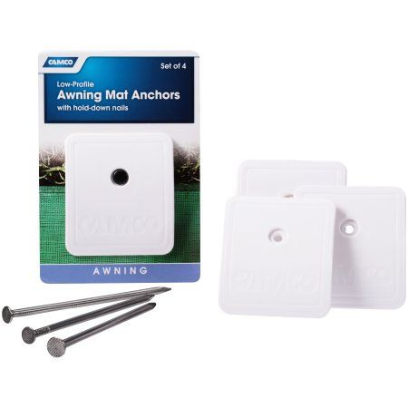 Camco Low Profile Awning Mat Anchors With Hold Down Nails 4 Ct Pack Walmart Com Camco Low Profile Awning