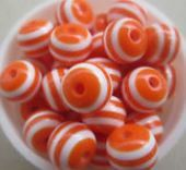 12mm Striped Chunky Beads 40ct orange LUSTER by SofiasCottage, $2.00