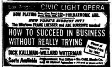 Promotional Ad For The 1963 Premiere Los Angeles Production Of The Abe Burrows Jack Weinstock Willie Gilbert Frank Loe Musical Comedy Waterman Auditorium