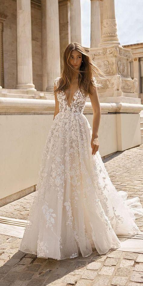 berta bridal wedding dresses a line plunging neckline floral appliques