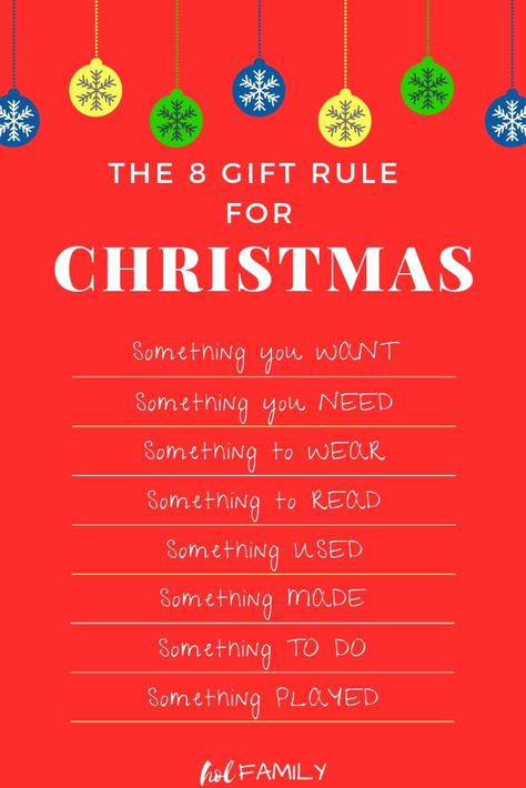 Keep Christmas simple, stress-free, and clutter-free with this brand new spin on the four gift rule for Christmas. This 8 Gift Rule for Christmas will become a family tradition you can carry on year after year. Something they want, need, wear, read, used, made, to do, played. Lots of eco-friendly, wooden, natural, STEM, and budget friendly gift ideas. #christmas #christmasgiftideas #giftsforkids #minimalism #holfamily