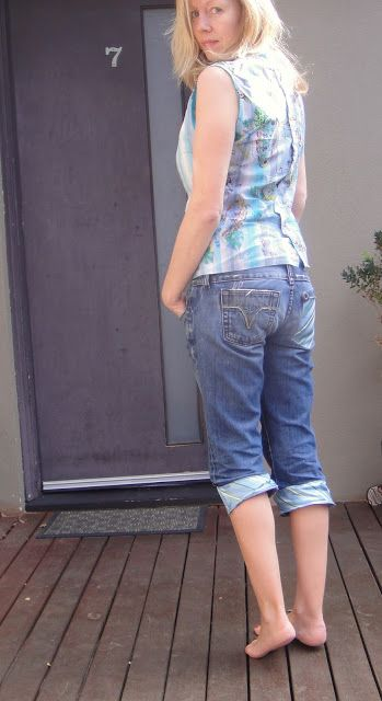 Recycled Fashion: Refashioning Neckties for cuffs and pockets on jeans