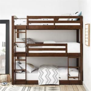 Dorel Living Noma Mocha Twin Triple Wood Bunk Bed Frame Fh7891tbb The Home Depot In 2021 Bunk Bed Designs Cool Bunk Beds Bunk Bed Rooms