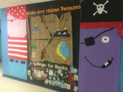 "Bulletin board for literacy night & bingo for books pirate theme ""Books are hidden Treasures"""