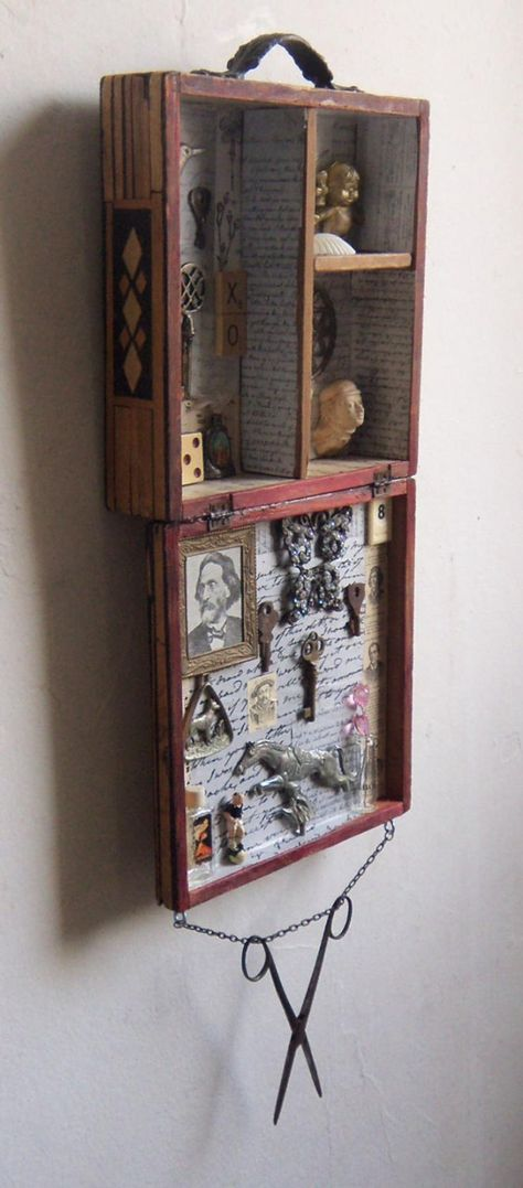 Assemblage Art - Recycle Salvage -Love Me - XO art shadow box VINTAGE - Summertrends. Cigar Box Art, Cigar Box Crafts, Cigar Box Projects, Shadow Box Art, Shadow Box Memory, Altered Cigar Boxes, Found Object Art, Found Art, Jars