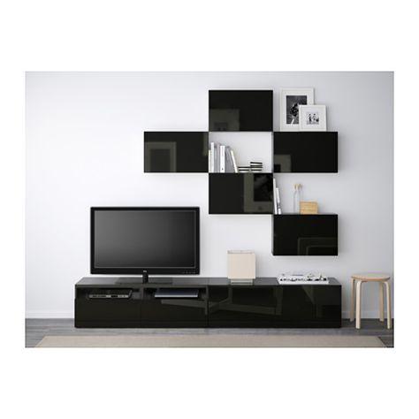 BESTÅ Agencement meuble télé - brun-noir/Selsviken finition ultra-brillante/noir, glissière tiroir, fermeture silence - IKEA