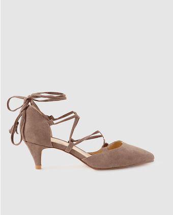 Zapatos de salón de mujer La Strada con lazos en color topo