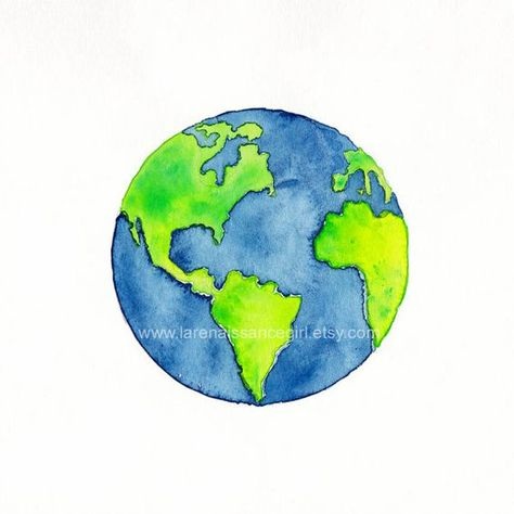 Digital print of a watercolor painting featuring our planet Earth. Measures 5x5 and is printed on Epson Velvet Fine Art Paper. *** This is the first in a new series of Tiny Worlds. The completed series will include all 8 current planets in our solar system. The watercolor technique used in this painting is modified wet-in-wet, in which pigment is applied to clean wet paper, then rotated so the paint flows freely into the wet places. This creates a wonderful abstract look, with a luminous b...