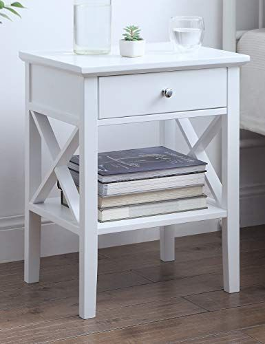 Linio Home White Nightstand Small End Table For Bedroom Bed Side