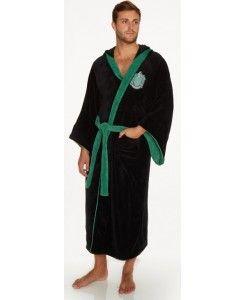Official Harry Potter Hogwarts Slytherin Crest Detail Soft Fleece Dressing Gown