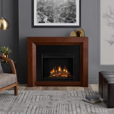 Home Decorators Collection Highland 50 In Faux Stone Mantel Electric Fireplace In Gray 103058 Electric Fireplace Fireplace Stone Mantel
