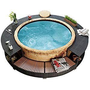 Festnight Umrandung Fur Pool Whirlpool Aus Rattan Schwarz Garten Gartenmobel Aus Fes Hot Tub Surround Inflatable Hot Tubs Spa Hot Tubs