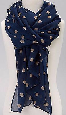 Wear Freedom Blue Scarf With Tan Polka Dot Scarves Shawl Stole Wrap