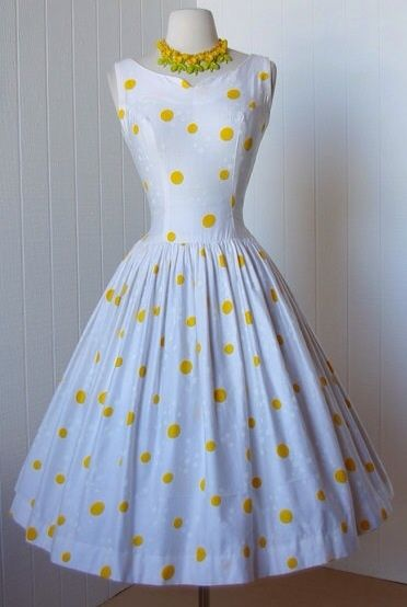 Yellow white polka dot dress