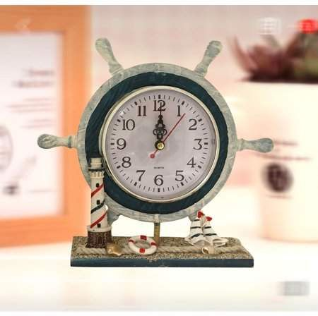 Nautical Clock With Steering Wheel Product Size 9x8x2 25 Polyresin Desk Top Clock With Seaside Scenery Walmart Com Nautical Clocks Beach House Style Decorating Beach House Gift