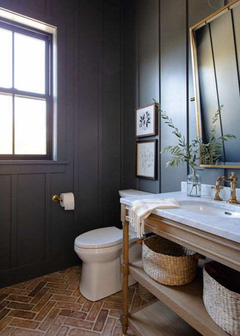Blue Powder Rooms, Basement Living Rooms, Wicker Dining Chairs, Boutique Interior Design, Wood Shutters, Shop Interiors, Downstairs Bathroom, Loft Bathroom, Bathroom Inspiration