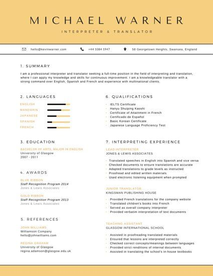 Organized Interpreter And Translator Resume Resume Templates Resume Resume Template Professional