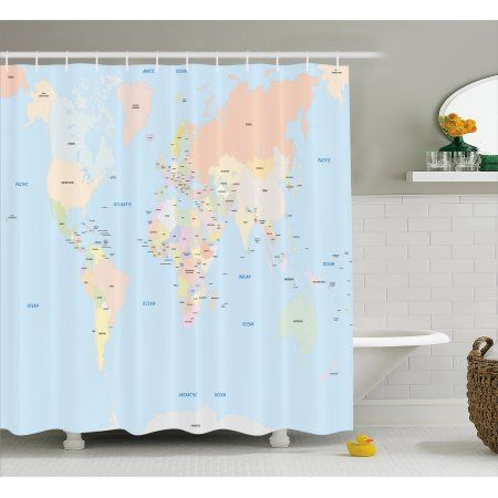 Map Shower Curtain Old Fashioned Classical Political World Map Administration Theme Borders Countries With Images Unique Bathroom Decor Country Bathroom Home Design Diy
