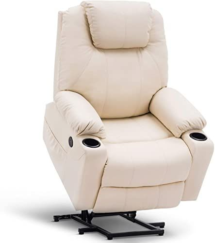 Amazing Offer On Mcombo Oversized Power Lift Recliner Chair Massage Heat Elderly Big Tall People 3 Positions 2 Side Pockets Cup Holders Usb Ports Faux In 2020 Lift Recliners Small Recliner Chairs Recliner Chair