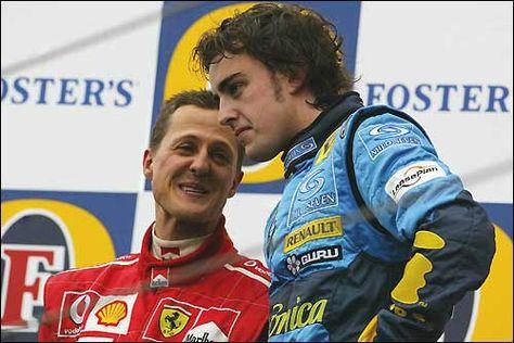Гран При Сан-Марино'05. Михаэль Шумахер и Фернандо Алонсо