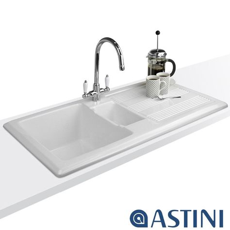 Astini Colonial Brushed Steel /& White Ceramic Handle Kitchen Sink Mixer Tap