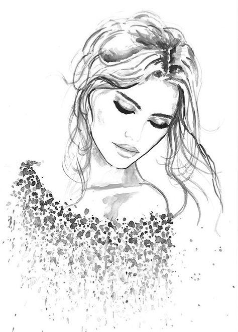 Drucken von Original Aquarell Fashion Illustration moderne Kunst Malerei mit dem Titel Leben In Liebe
