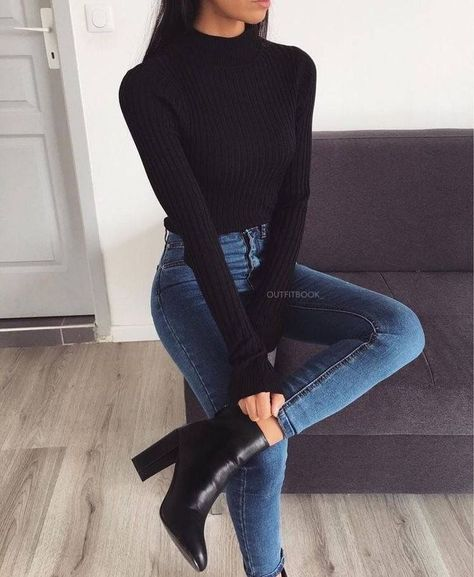 Black + Denim Classic Fall Look