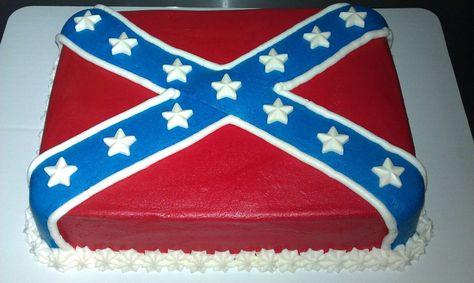 Rebel Flag cake. White with buttercreme.*