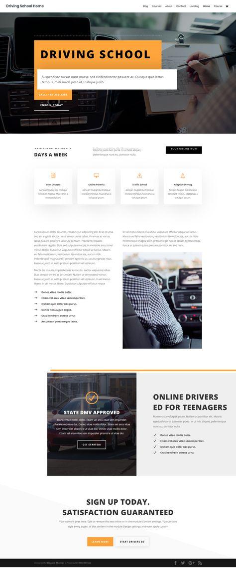 The Best Modern Driving School Wordpress Template   Creative Website UI Design Inspiration Idea
