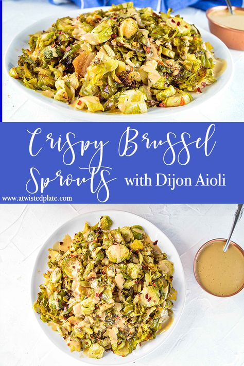 Crispy Roasted Brussel Spouts seasoned with Spices and Coconut Amino. Topped with a delicious Dijon Aioli made of Mayonnaise, Coconut Amino and Dijon Mustard!  #brusselsprouts #roastedbrusselsprouts #brusselsproutrecipe #roasted #roastedbrusselsprouts #dijon #dijonaioli #healthy #recipe #easyrecipe #easysidedish #sidedish #sidedishrecipe #whole30sidedish #paleobrusselsprouts #paleodinner #easypaleosidedish #paleosidedish