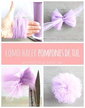 Como Hacer Pompones De Tul Paso A Paso Pompon De Tul Como Hacer Pompones Hacer Pompones